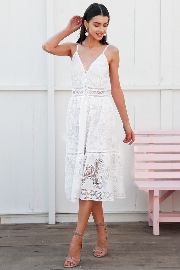 White Strap Backless Long Summer V Neck Button Lace Dress | TeresaClare
