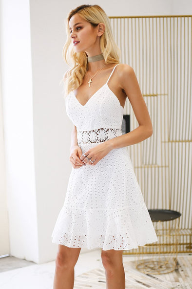 White Strap V Neck Cotton Lace Hollow Out Casual Dress | TeresaClare