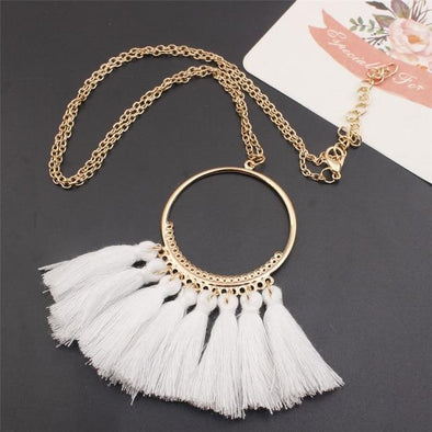 White Tassel Vintage Round Circle Pendant Necklace | TeresaClare