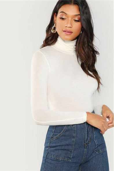 White Turtleneck Slim Fit Elegant Workwear Long Sleeve T-Shirt | TeresaClare