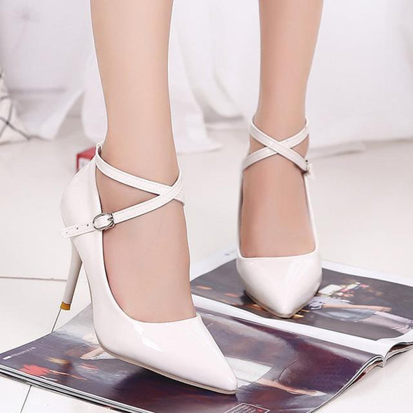White Women's Bright Leather High Heels Shallow Mouth Sexy Pumps | TeresaClare