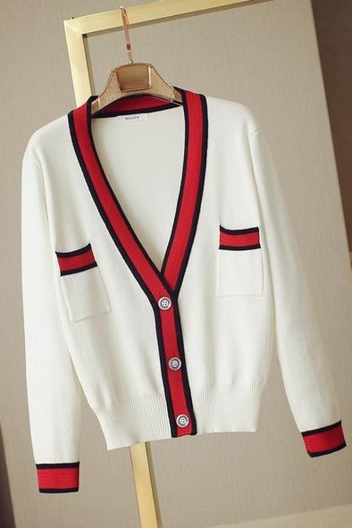 White Women's Cardigans V-neck Long Sleeve Patchwork Sweater | TeresaClare