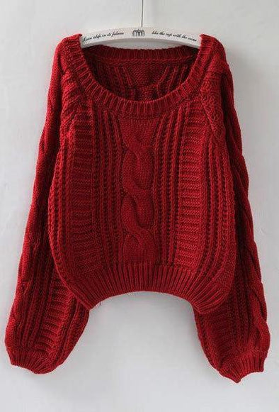 Wine Red Short Casual Women's Sweater With Lantern Sleeves Sweater | TeresaClare