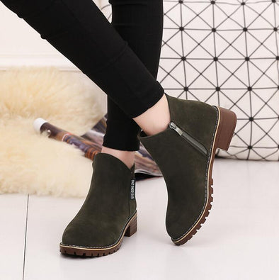 Winter Classic Zipper Warm Plush Ankle Boots | TeresaClare