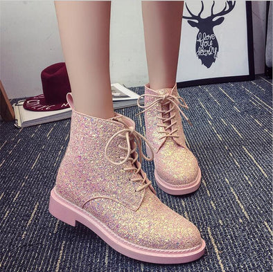 Winter European Sequined Lace Low Cylinder Boots | TeresaClare