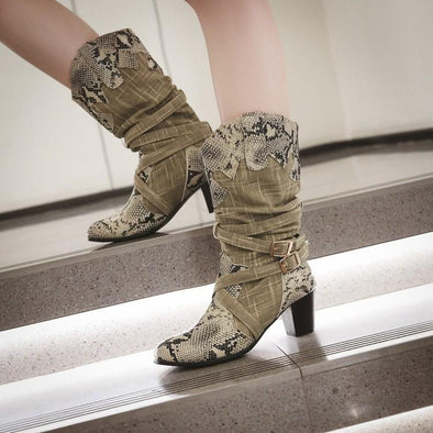 Winter Snow Lady's Western Cowboy Snake Boots | TeresaClare