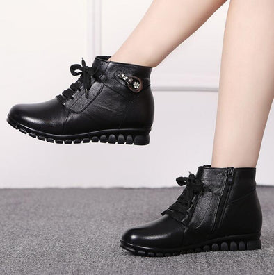 Winter Warm Women's Genuine Leather Flat Ankle Boots | TeresaClare