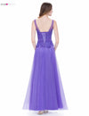 Women A Line Tulle Fashion Elegant O-Neck Sleeveless Long Dress | TeresaClare