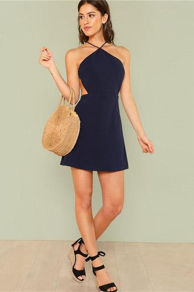 Women Navy Sleeveless Backless Sexy Club Mini Fashion Dress | TeresaClare