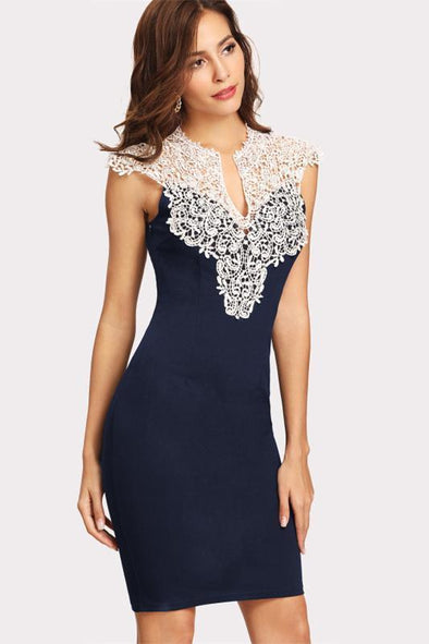 Women Party Navy Floral Lace Yoke Form Fitting Fashion Dress | TeresaClare