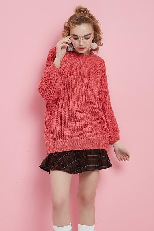 Women Solid Sweater With Thick Needle Lantern Sleeve | TeresaClare