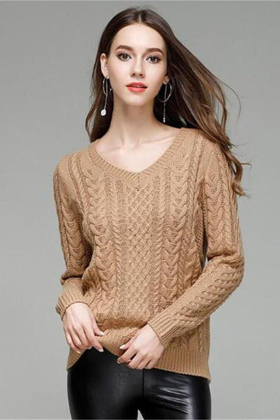 Women V-neck Fashion Knitted Pullover Sweater | TeresaClare