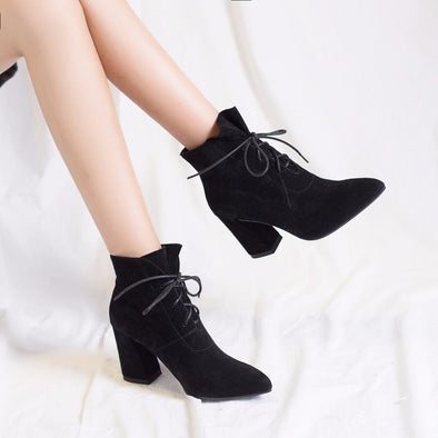 Women's Boots Sexy Lace-Up Pointed Toe High Heels Boots | TeresaClare