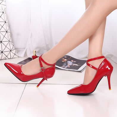 Women's Bright Leather High Heels Shallow Mouth Sexy Pumps | TeresaClare