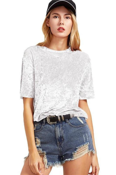 Women's Casual White Short Sleeve Crushed Velvet T-Shirt | TeresaClare
