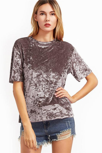 Women's Coffee Short Sleeve Crushed Velvet T-Shirt | TeresaClare