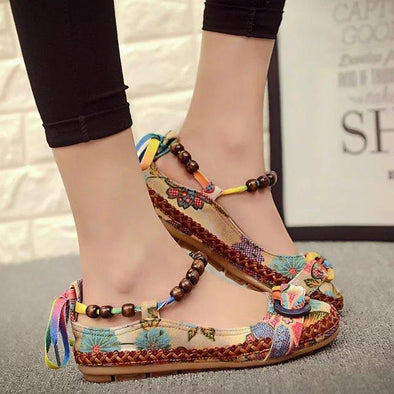 Women's Ethnic Lace Up Beading Round Toe Flats | TeresaClare