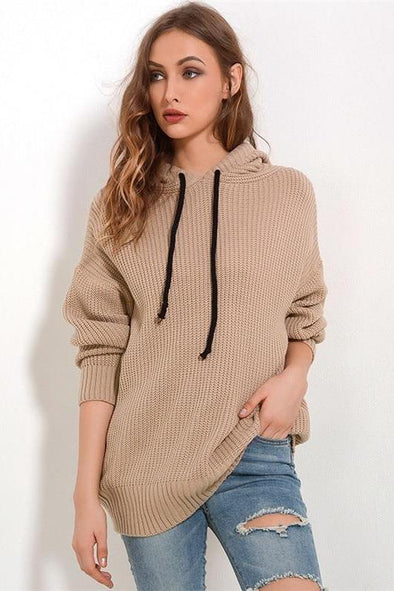 Women's Loose Hooded Knitted Pullovers Female Sweater | TeresaClare