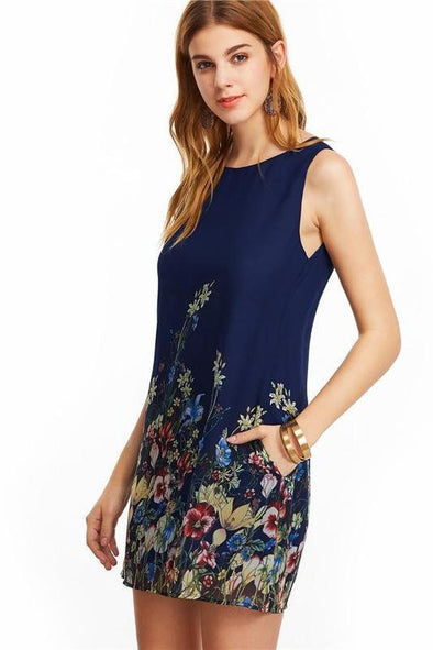 Women's Navy Buttoned Keyhole Back Flower Fashion Dress | TeresaClare