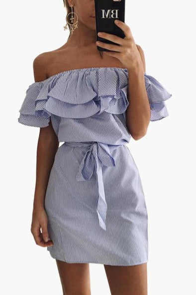 Women's Off-the Shoulder Striped Fashion Dress With Ruffles | TeresaClare
