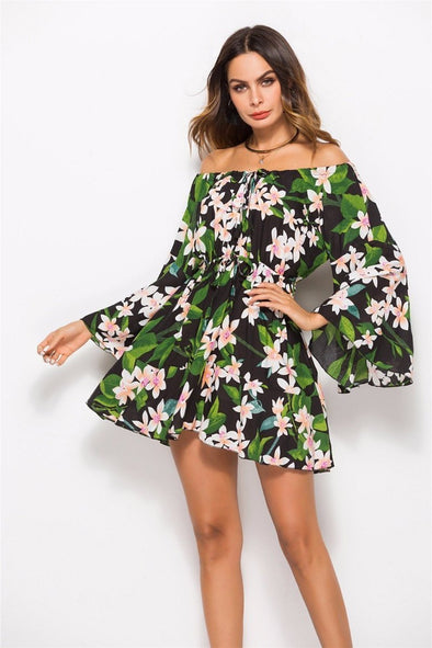 Women's Sexy Off Shoulder Slash Neck Floral Print Fashion Dress | TeresaClare