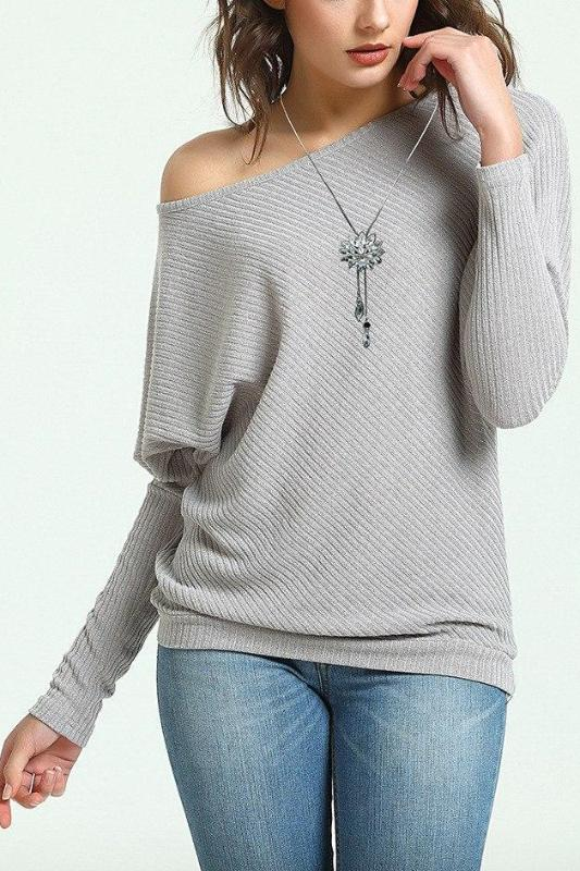 Women's Solid Knitted Pullovers Long Sleeve Sweater | TeresaClare