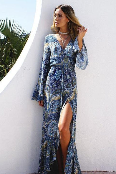 Women's Summer Beach Bohemian Print V-Neck Kimono Fashion Dress | TeresaClare