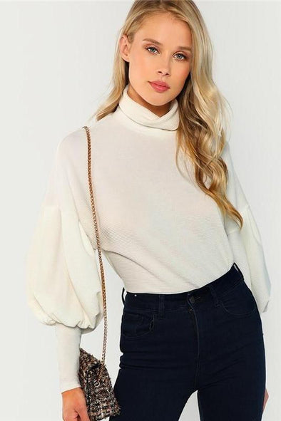 Workwear Elegant Mock Neck Solid Sweater | TeresaClare