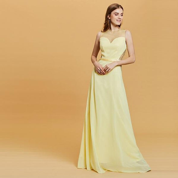 Yellow A-Line Long Daffodil Scoop Neck Floor Length Lace Prom Dress | TeresaClare
