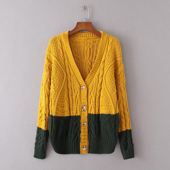 Yellow Autumn Winter Cardigan Fashion Patchwork V-Neck Sweater | TeresaClare