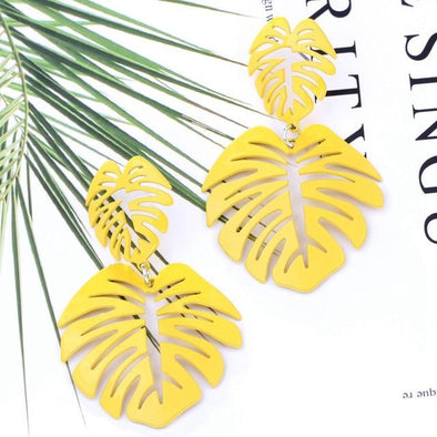 Yellow Bohemia Hollowed Double Leaf Drop Earrings | TeresaClare