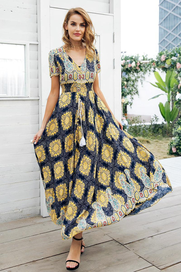 Yellow Boho Chic High Waist Long Shirred Floral Dress | TeresaClare
