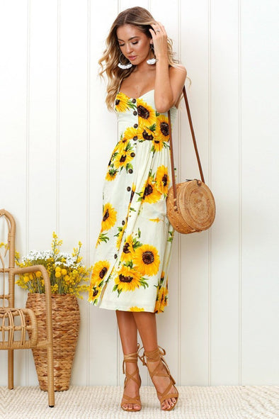 Yellow Boho Style Floral Print Summer V Neck Fashion Dress With Florals | TeresaClare