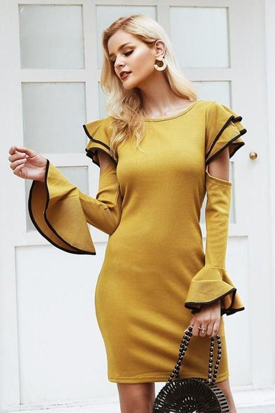 Yellow Cold Shoulder Ruffles Knitted Elegant Flare Long Sleeve Dress | TeresaClare