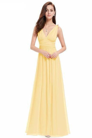 Yellow Elegant A-Line Chiffon V-Neck Prom Dress With Pleats And Ruffles | TeresaClare