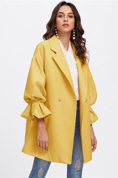 Yellow Elegant Drop Shoulder Pearl Detail Ruffle Cuff Coat | TeresaClare