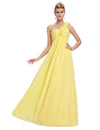 Yellow Elegant Empire One Shoulder Prom Dress With Flowers | TeresaClare