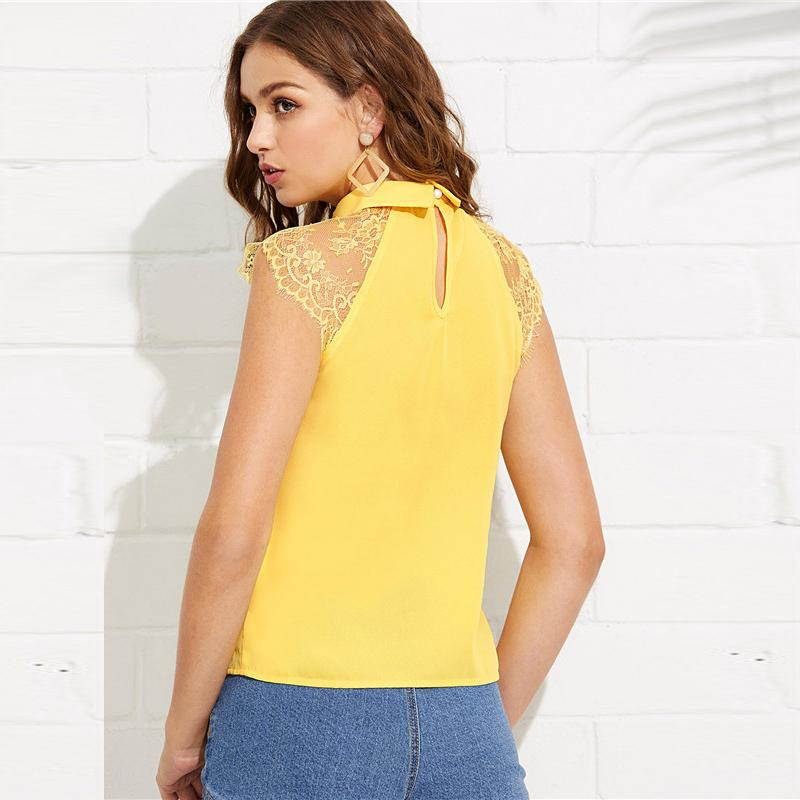 e7971d631e32f Shop Yellow Floral Lace Cap Sleeve Weekend Casual Blouse Now ...