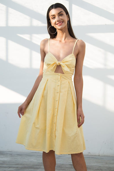Yellow Hollow Out Bow Midi Backless Summer Dress | TeresaClare