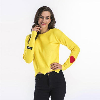Yellow Irregularity Embroidery Knitted Pullovers Casual Sweater | TeresaClare