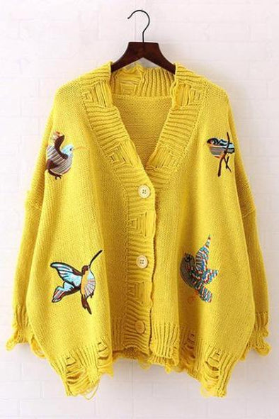 Yellow Long Sleeve Casual Embroidery Cardigan Loose Sweater | TeresaClare