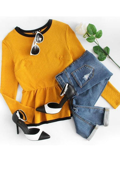 Yellow Long Sleeve Casual Women's Blouse | TeresaClare