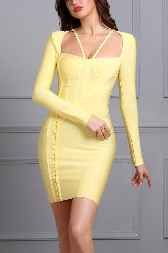 Yellow Long Sleeve Hollow Out Strapless-Neck Celebrity Evening Party Dress | TeresaClare