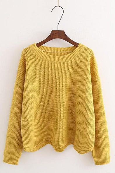 Yellow O-Neck Casual Solid Waves Irregular Knitted Sweater | TeresaClare