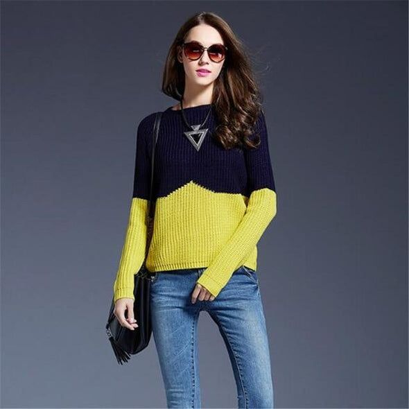 Yellow O-Neck Fashion Patchwork Knitted Pullovers Sweater | TeresaClare