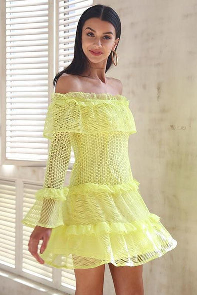 Yellow Off Shoulder Ruffle Lace Sexy Hollow Out Mini Dress | TeresaClare