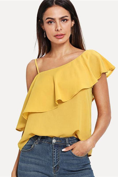 Yellow Party Elegant Sexy Asymmetrical Neck Flounce Blouse | TeresaClare