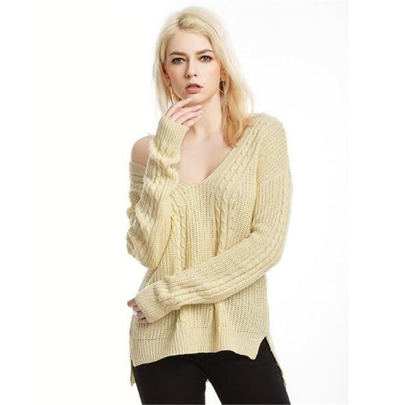 Yellow Pullovers For Women Deep V-neck Long Sleeve Sweater | TeresaClare