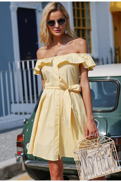Yellow Ruffle Off Shoulder Sash Casual Dress | TeresaClare