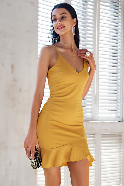 Yellow Sexy V Neck Ruffle Strap Mini Mermaid Dress | TeresaClare